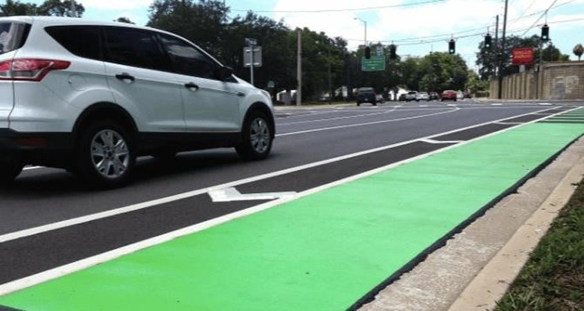 Dedicated green bike lanes such as this example have an expected December completion date. Photo: Courtesy City of Encinitas